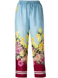 Blugirl Floral Print Trousers Blue