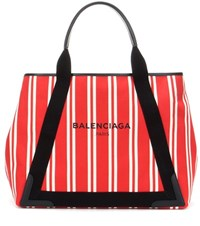 Balenciaga Navy Cabas M Striped Canvas Shopper Red