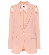 Maison Martin Margiela Cotton Blend Cold Shoulder Blazer Pink