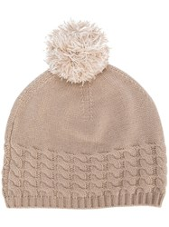 N.Peal Pom Pom Beanie Hat Nude And Neutrals