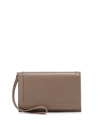 Neiman Marcus Leather Cell Phone Wristlet Taupe