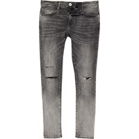 River Island Mensgrey Ripped Danny Super Skinny Jeans