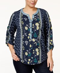 Styleandco. Style Co. Plus Size Mixed Print Top Only At Macy's End Scarf Blue