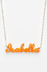 Women's Moon And Lola 'Script Font' Personalized Nameplate Pendant Necklace Tangerine Gold