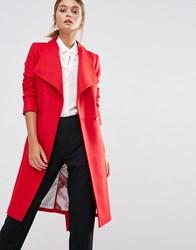 Ted Baker Aurore Longline Wrap Collar Coat Red