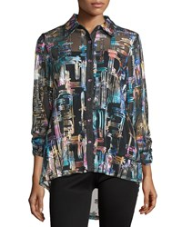 Berek 3 4 Sleeve Button Front Soustache Shirt Multi Colors