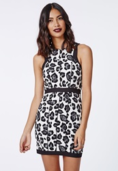 Missguided Crepe Animal Print Sleeveless Bodycon Dress Black