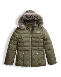 The North Face Gotham 2.0 Down Hooded Jacket W Faux Fur Trim Green