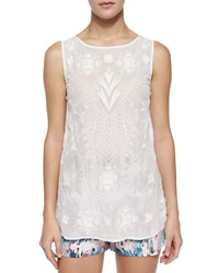 French Connection Sheer Chiffon Embroidered Tank Summer White Sumwht