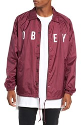 Obey Anyway Snap Front Hooded Coach's Jacket Raspberry
