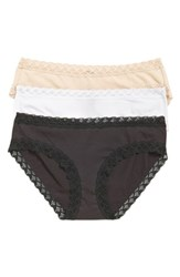 Women's Natori 'Bliss' Stretch Pima Cotton Briefs Black Cafe White
