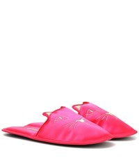 Charlotte Olympia House Cats Satin Slippers Pink