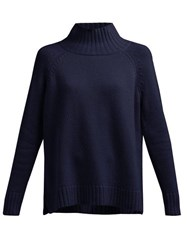 Allude Funnel Neck Cashmere Sweater Navy