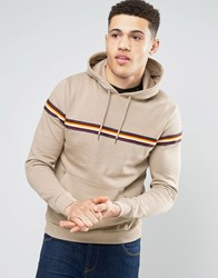 Brave Soul Stripe Chest Hoodie Tan