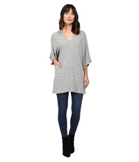 Culture Phit Mina V Neck Short Sleeve Dress With Pockets Heather Grey Women's Dress Gray