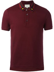 Gucci House Web Embroidered Polo Shirt Brown