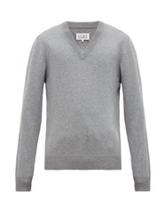 Maison Martin Margiela Elbow Patch V Neck Cotton Blend Sweater Grey