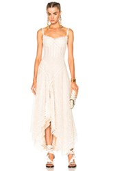 Alexander Mcqueen Asymmetrical Lace Dress In Neutrals White Neutrals White