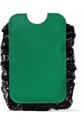 Red V Lace Trimmed Faille Phone Case Green