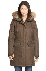 Women's Spiewak 'Aviation N3b' Genuine Coyote Fur And Faux Shearling Trim Down Parka Officer Brown