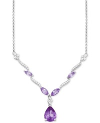 Macy's Amethyst 2 Ct. T.W. And White Topaz 1 2 Ct. T.W. Pendant Necklace In Sterling Silver