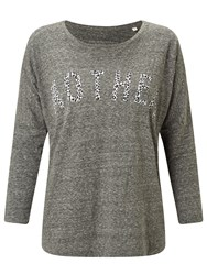 Selfish Mother Slub 3 4 Length Sleeve T Shirt Charcoal Leopard