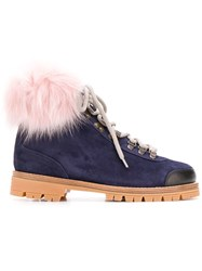 Mr And Mrs Italy Fur Trimmed Hiking Boots Blue