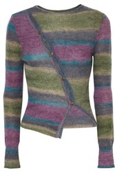 Jacquemus Button Detailed Striped Knitted Sweater Purple