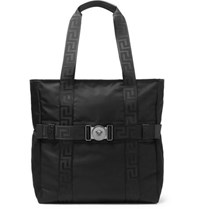 Versace Logo Detailed Nylon Tote Bag Black