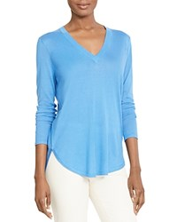 Lauren Ralph Lauren V Neck High Low Sweater Cool Blue