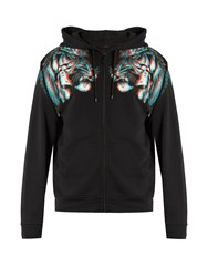 Marcelo Burlon Tajo Hooded Zip Up Cotton Jersey Sweatshirt Black Multi