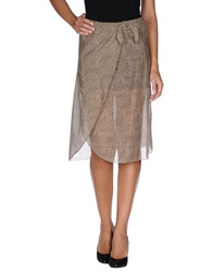 Borbonese Knee Length Skirts Camel