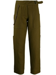 Ermanno Scervino High Waisted Trousers With Chain Detail Green
