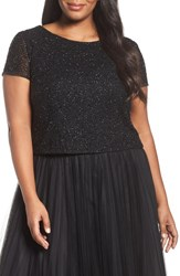 Adrianna Papell Plus Size Women's Beaded Crop Top