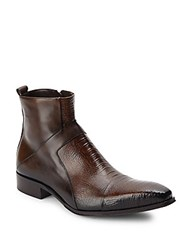 Jo Ghost Embossed Leather Boots Brown