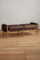 Anthropologie Premium Leather Rhys Bench Bourbon