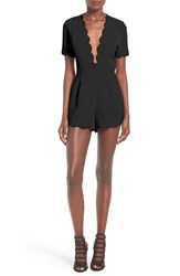 Storee Women's Scallop Plunge Romper Black