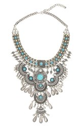 Bp. Western Bib Necklace Silver Turquoise