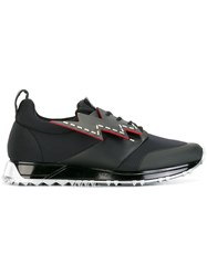 Fendi Lace Up With Lightning Bolt Sneakers Black