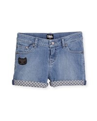 Karl Lagerfeld Cat Detail Stretch Denim Shorts Light Blue