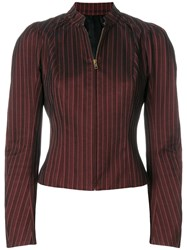 John Galliano Vintage Pinstriped Zipped Blouse Red