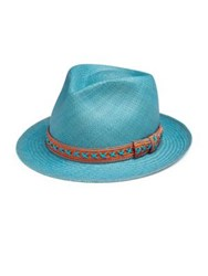My Bob 24 Hours Woven Straw Fedora Washed Blue