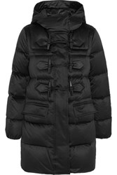 Burberry Leather Trimmed Quilted Shell Down Duffle Coat Black