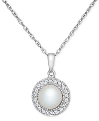 Macy's Freshwater Pearl 7 1 2Mm And White Topaz 1 5 Ct. T.W. Pendant Necklace In Sterling Silver