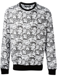 Frankie Morello Bearded Men Print Sweatshirt White