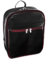 Mcklein Edison 20 Leather Laptop Backpack Black Red Trim