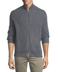 Neiman Marcus Cashmere Thermal Zip Front Sweater Smog