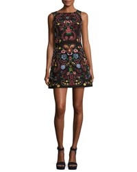 Alice Olivia Lindsey Sleeveless Embroidered Dress Black Multicolor