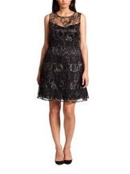 Kay Unger Plus Size Embroidered Lace Dress Black Gold