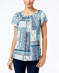 Styleandco. Style Co. Printed Pleat Neck Top Only At Macy's Tropic Folk